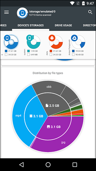 Borrar el almacenamiento interno de Android de archivos no necesita