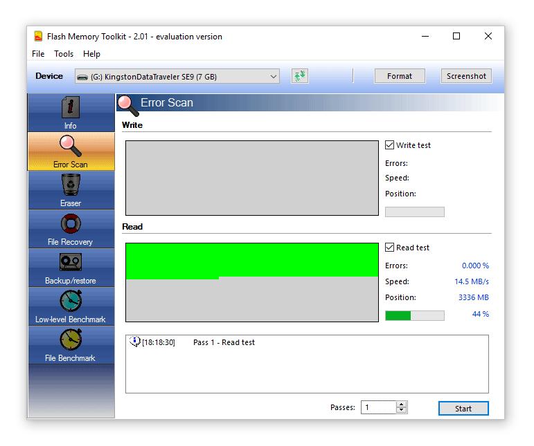 Flash Memory Toolkit - compruebe los errores y la velocidad usb