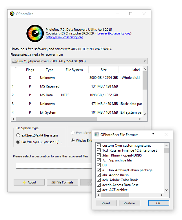 PhotoRec (Windows GUI Version) Opini贸n