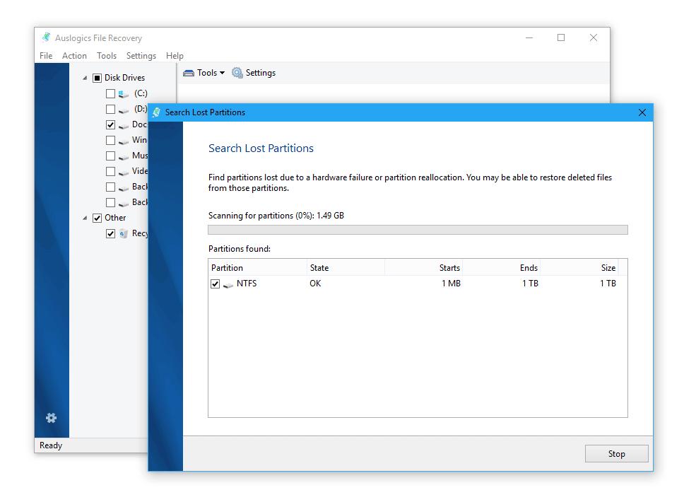 Recuperaci贸n de archivos despu茅s de formatear en el programa Auslogics File Recovery