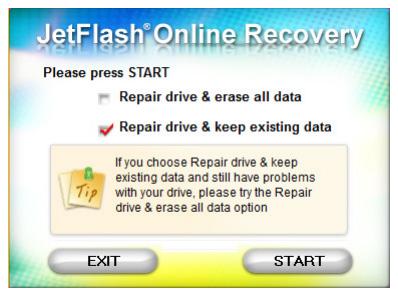 Herramienta de recuperación JetFlash – Reparación de la unidad flash online